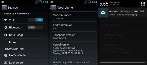 Samsung Galaxy Fit CM 10.2 ROM screenshot 2