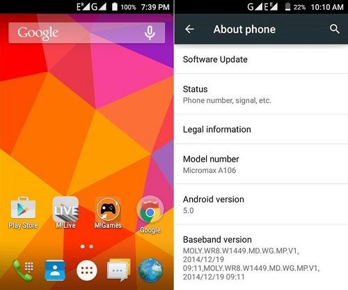 Micromax Unite 2 A106 Android 5.0 Lollipop Firmware