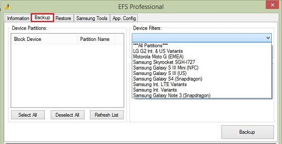 Backup EFS IMEI using EFS Professional Tool 7