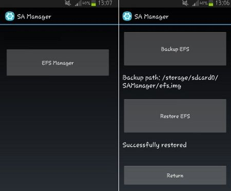 Backup EFS IMEI using SA Manager App