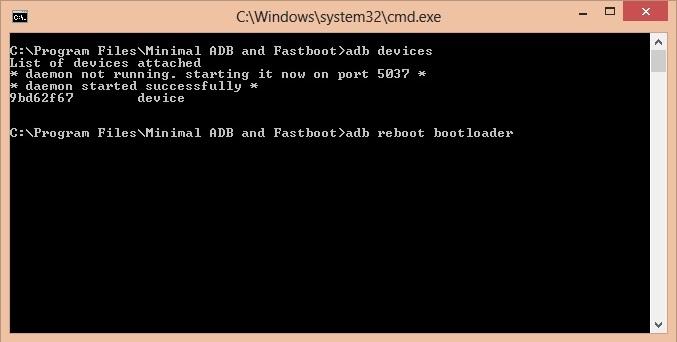 Unlock Bootloader of OnePlus 3 CMD window adb reboot bootloader code