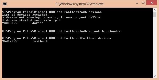 Unlock Bootloader of OnePlus 3 CMD window fastboot devices code