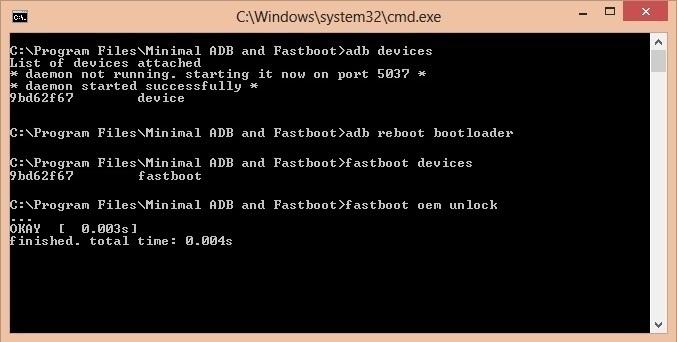 Unlock Bootloader of OnePlus 3 CMD window fastboot oem unlock code