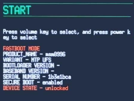 Unlock Bootloader of OnePlus 3 fastboot mode unlocked