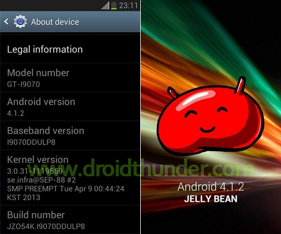 Samsung Galaxy S Advance i9070 Android 4.1.2 firmware screenshot 2