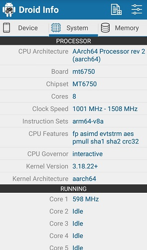 Check Processor of Android using Droid Hardware Info CPU-Z