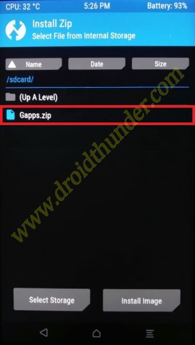 Install GApps using TWRP recovery select Google Apps zip package file screenshot 2