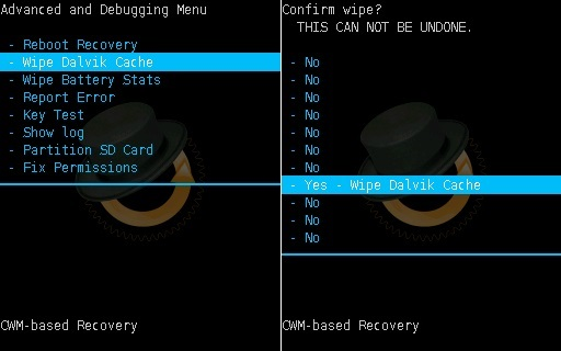 Install Android 7.0 Nougat ROM on Galaxy Y GT-S5360 CWM recovery wipe dalvik cache screenshot