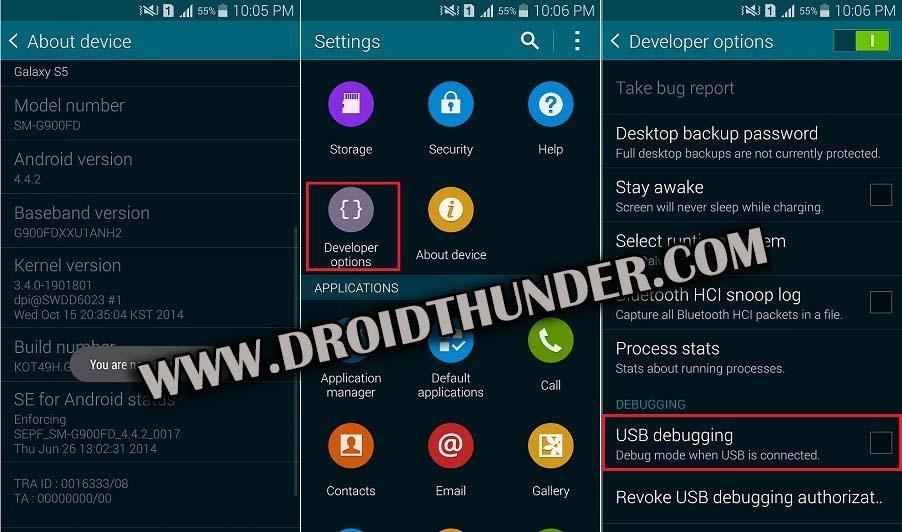 Enable Developer options USB Debugging Mode on Android 4.4 KitKat screenshot 2