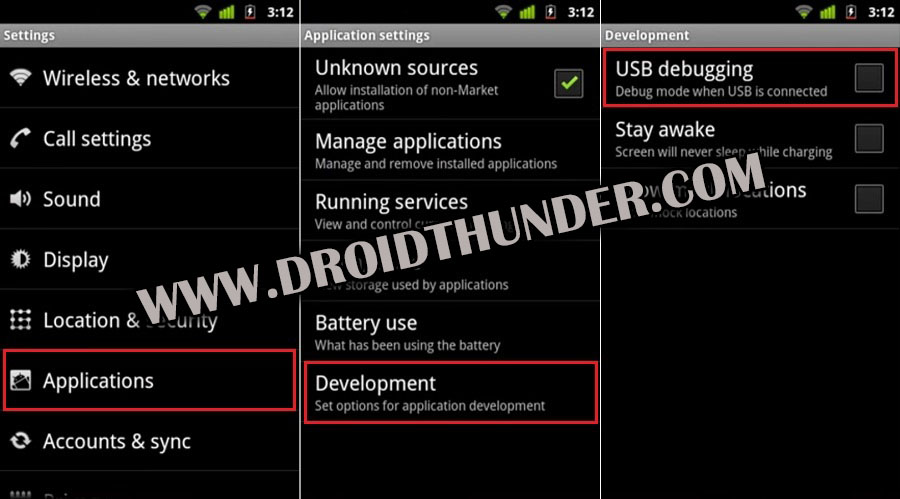 How to Enable USB Debugging Mode on Android 2.3.6 Gingerbread