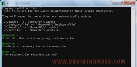 Convert Zip to tar.md5 using Cygwin 4