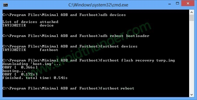Install TWRP without ROOT and PC CMD window fastboot reboot code screenshot