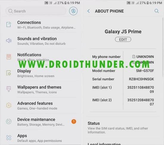 Samsung Galaxy J5 Prime SM-G570F Android 8.0.0 Oreo