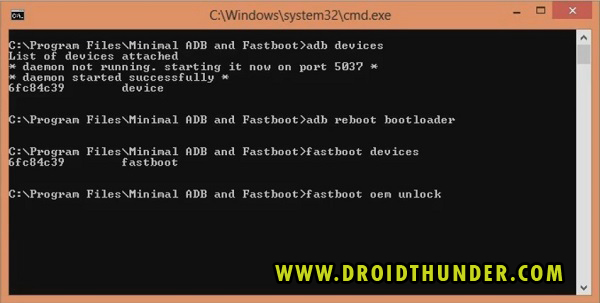 Unlock Bootloader of any Android phone CMD window fastboot oem unlock code screenshot 8