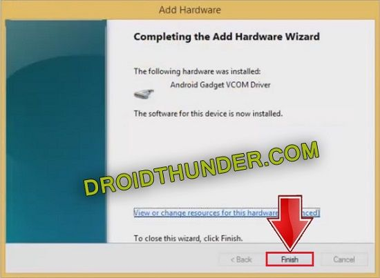 Completing Android Gadget CDC Drivers installation wizard