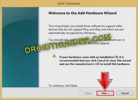Install Android Drivers Add hardware wizard
