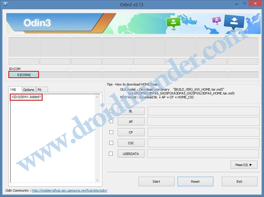 Install TWRP Recovery on Galaxy M10 using Odin flash tool Added id com blue screenshot 3