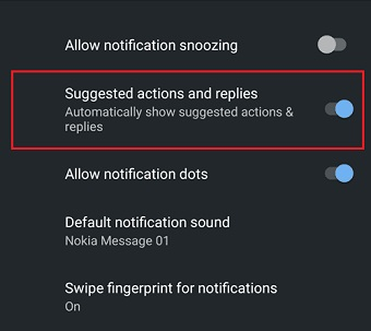Enable or disable Smart Reply Android 10 screenshot 3