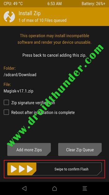 Root Poco X2 using Magisk TWRP cofirm flash zip screenshot 3