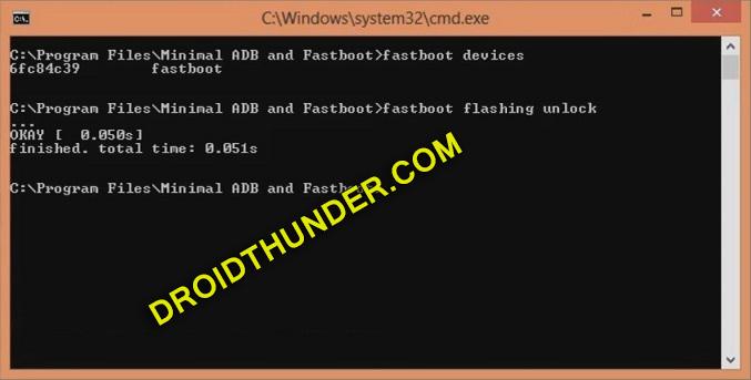 Unlock Bootloader of Realme X50 Pro cmd window fastboot flashing unlock screenshot 13