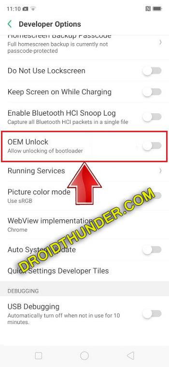 Unlock Bootloader of Realme X50 Pro enable USB debugging OEM unlock option screenshot