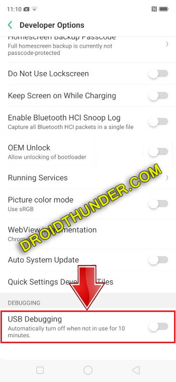 Unlock Bootloader of Realme X50 Pro enable USB debugging option screenshot