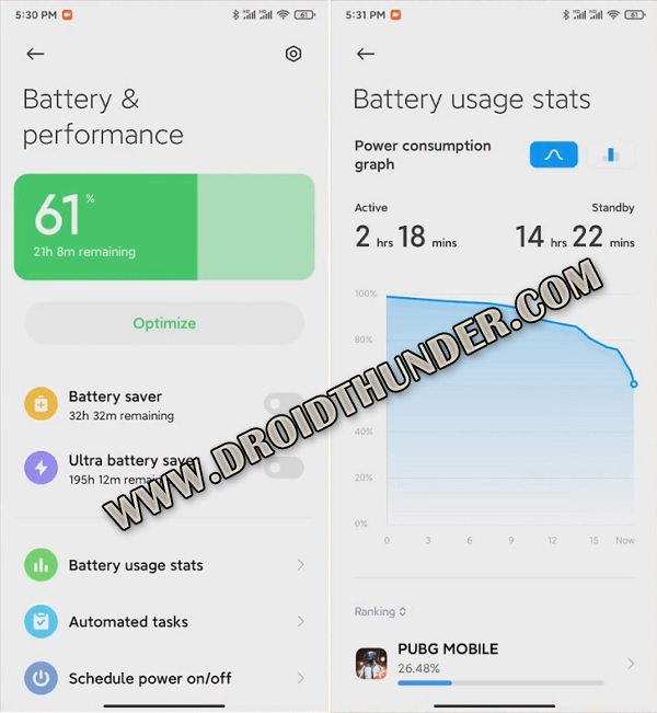 MIUI 12 Animation Battery Performance and Stats screenshot