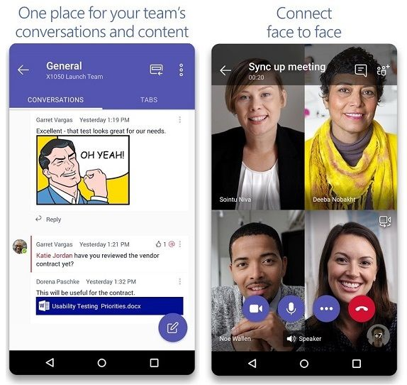 Microsoft Teams for Android phones Video Conferencing Apps