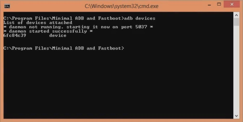 Unlock Bootloader of OnePlus 8 cmd window adb devices screenshot 5