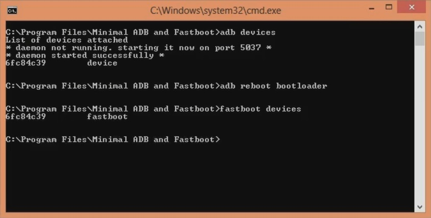 Unlock Bootloader of OnePlus 8 cmd window fastboot devices screenshot 9
