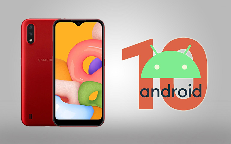 Update Samsung Galaxy M01 to Android 10 firmware featured img