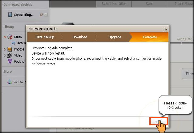 Samsung Firmware Update complete