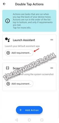 Double Tap Actions Add Requirement Button