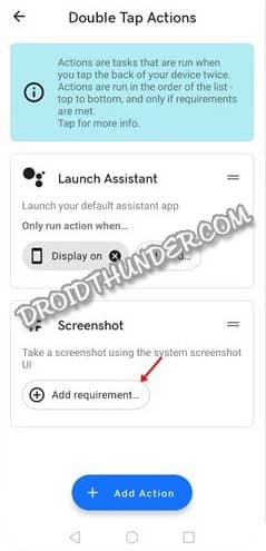 Double Tap Actions Add Requirement Screenshot