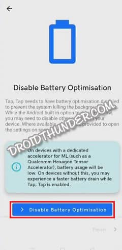 Tap Tap Disable Battery Optimization