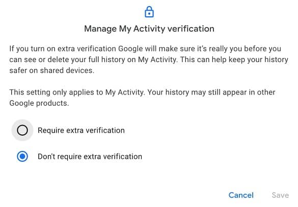 Google Password Protection Manage My Activity Verification
